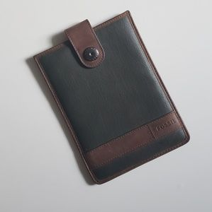 2 for $10 FOSSIL Green & Brown Leather Folio Pouch